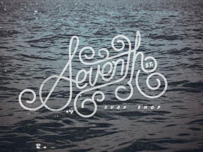 Seventh Street Surf Shop logo design identity surf lettering