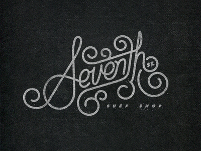 Seventh logo design identity texture lettering