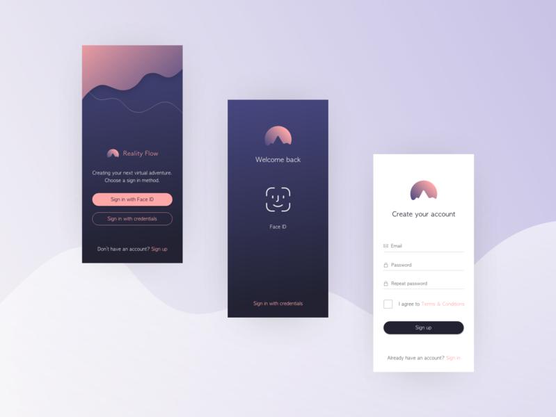 Reality Flow Concept - Login login screen design challenge gradient color mobile app design minimalistic ui