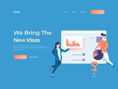 Flat illustration for a startup company business startup agency website vector frontend illustration flat uidesign ui