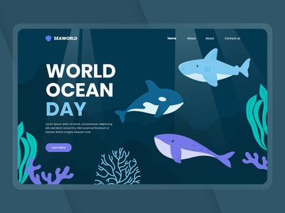 World Ocean Day Hero Section landingpage flat frontend uidesign ui web water illustration website design banner ocean