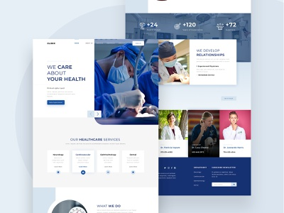 Clinic landing page website doctor clean hospital pharmaceutical medical healthcare health apps frontend landingpage design website uidesign ui