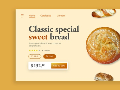 Bread Shop Landing Page webdesign bread pastries frontend ecommerce shop interaction landingpage brown uidesign website