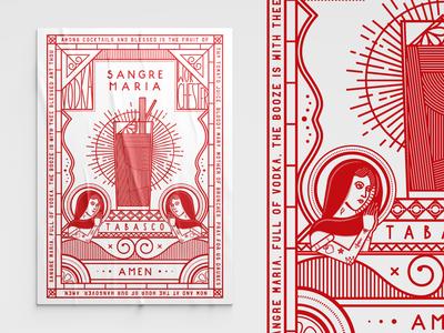 Sangre Maria | Poster illustration design illustrations illustrator red postcard design illustration poster art bloody mary poster design print poster