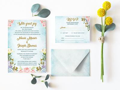 Floral wedding invitation & RSVP digital watercolor watercolor floral rsvp wedding wedding invitation