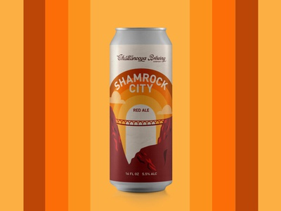 Shamrock Rock City Red Ale lookout mountain red beer can design beer red ale beer design beer can illustration chattanooga