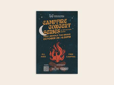 Reflection Riding Campfire Concert Series Poster typography fire campfire concert campfire event design concert chattanooga