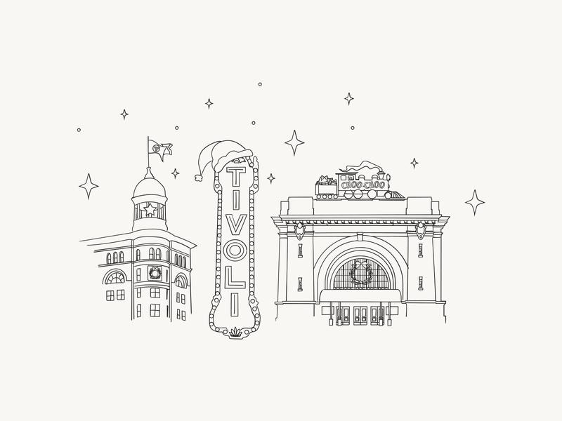 A Chattanooga Christmas tivoli chattanooga choo choo chattanooga christmas christmas card christmas downtown city typography vector illustration chattanooga