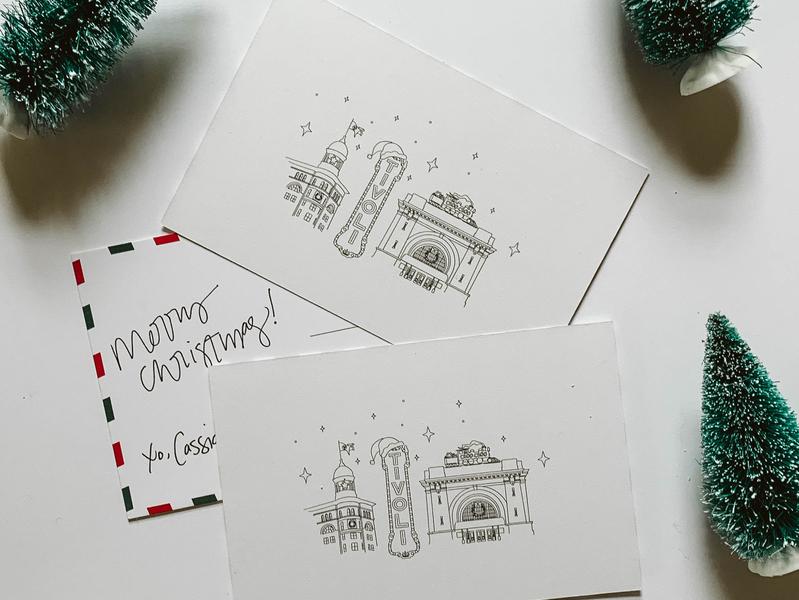 Printed Christmas Cards typography postcard printed merry christmas downtown illustration downtown illustration choo choo chattanooga choo choo tivoli tennessee christmas chattanooga