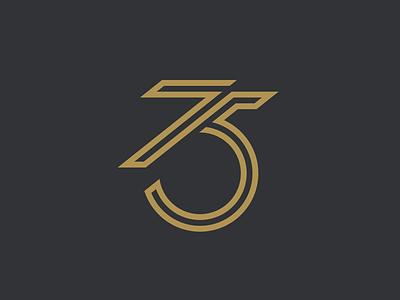 75 number logo gold logotype 75