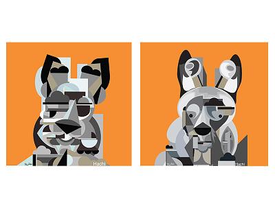 Abstract Dogs ryan seslow digital illustration digital art commission graphics illustration vector animals pets dogs dog