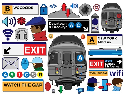 NYC Subway Flow Poster poster graphic design b-girls b-boys characters life travel trains nyc subway signs nyc illustration vector