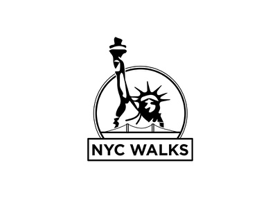 NYC Walks Logo statue of liberty new york city nyc clean black and white logo design icon vector logo