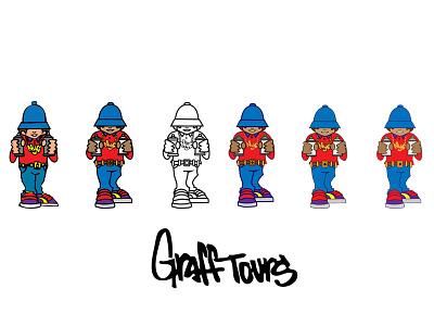 Graff Tours Character Illustration Logo graffiti nyc illustration graphic design logo design logo