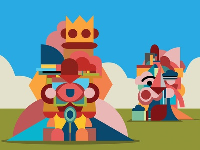Colorful Characters in View portfolio fun poster graphic design characters life travel illustration vector