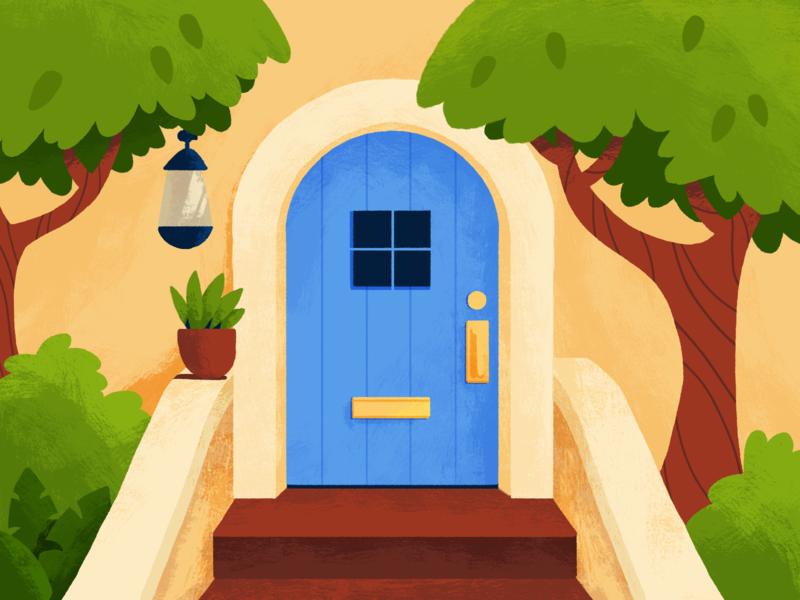 Summer Door stoop plants door photoshop 2d design illustration