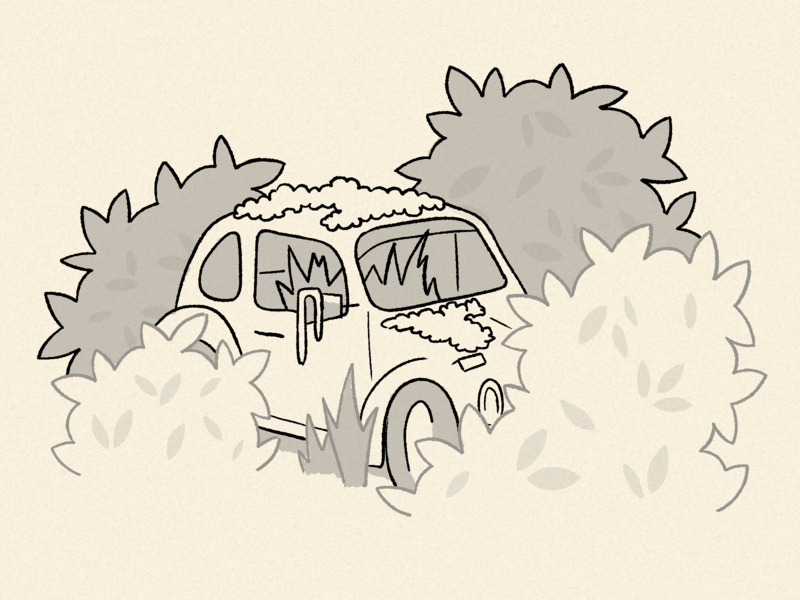 Inktober Day 14 - Overgrown plants overgrown car photoshop design 2d illustration