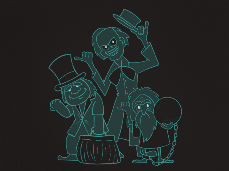 Inktober Day 22 - Hitchhiking Ghosts inktober ink characters 2d illustration procreate hitchhikers hitchhiking disney ghosts