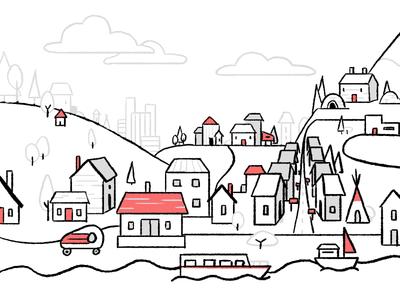 Housing Diversity landscape linework homepage design illustration 2d town city housing home