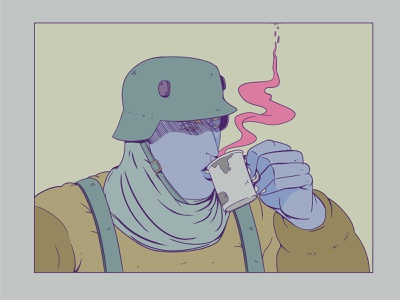 Soldier with tea tea art characterdesign design draw photoshop illustration