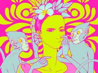 Frida Kahlo's Self-portrait with monkeys