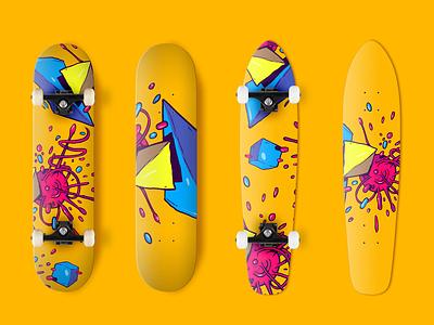 Skateboard trip design photoshop color adobe retro draw trip illustration street fighter sk8 patineta ilustración illustraiton design skateboard