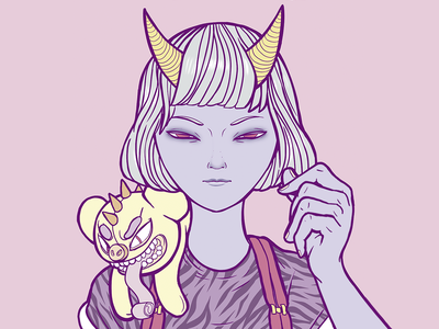 Oni Girl girl characterdesign art adobe colors draw design photoshop illustration
