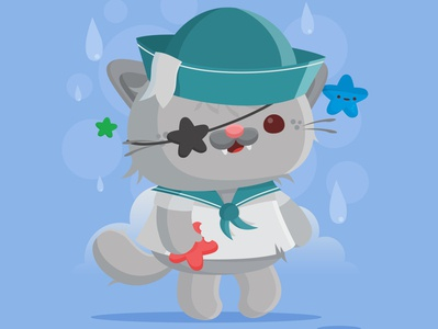 Aye Aye Sailor sailor pirate kitty cat critter character design animal vector illustration kawaii cute