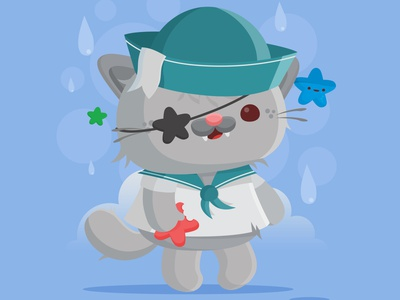 Aye Aye Sailor sailor pirate kitty cat critter character design animal vector illustration kawaii cute
