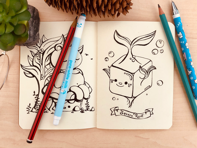 The Paradox of a Square Root nature hand drawn vegetable critter animal paradox square root sketchbook doodle cute kawaii