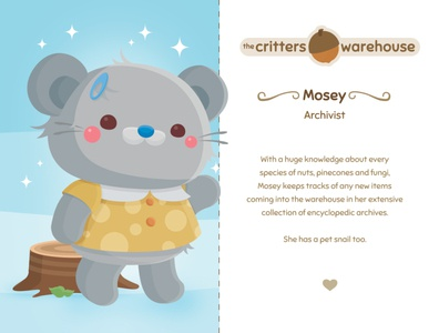 Critters Warehouse: Meet Mosey acorn mosey the critters warehouse rodent rat mouse kidlitart kids critter character design animal vector illustration cute kawaii