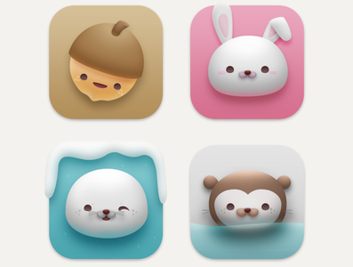 Critterama Icons preview wip neomorphism big sur macos appicon icons ui critters animals kawaii cute