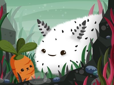 Sea Bunny critters cute kawaii illustration animals vector nature
