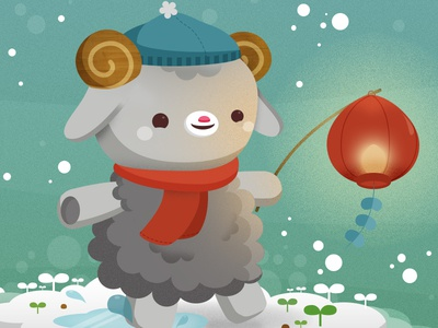 Year of the Sheep preview nature vector animals illustration kawaii cute