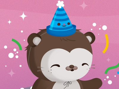 Birthday Sea Otter sea otter critters cute kawaii illustration animals vector birthday snapshot preview