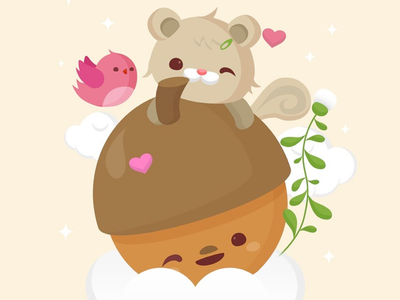 Acorns Are Love clouds illustration bird squirrel animal acorn cute kawaii