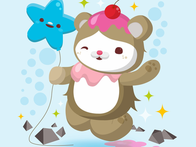 28th Birthday animal cake balloon bear birthday adorable cute kawaii