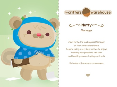 Critters Warehouse: Meet Nutty nutty the critters warehouse squirrel acorn critter adorable kids character design critters animal animals vector illustration cute kawaii