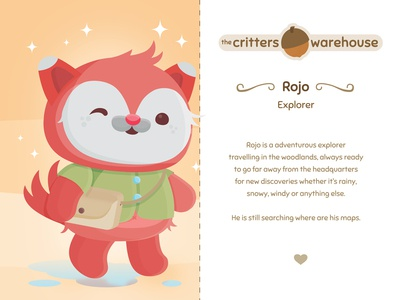 Critters Warehouse: Meet Rojo kidlitart kids rojo renard fox the critters warehouse acorn animals critters critter character design adorable vector illustration kawaii cute