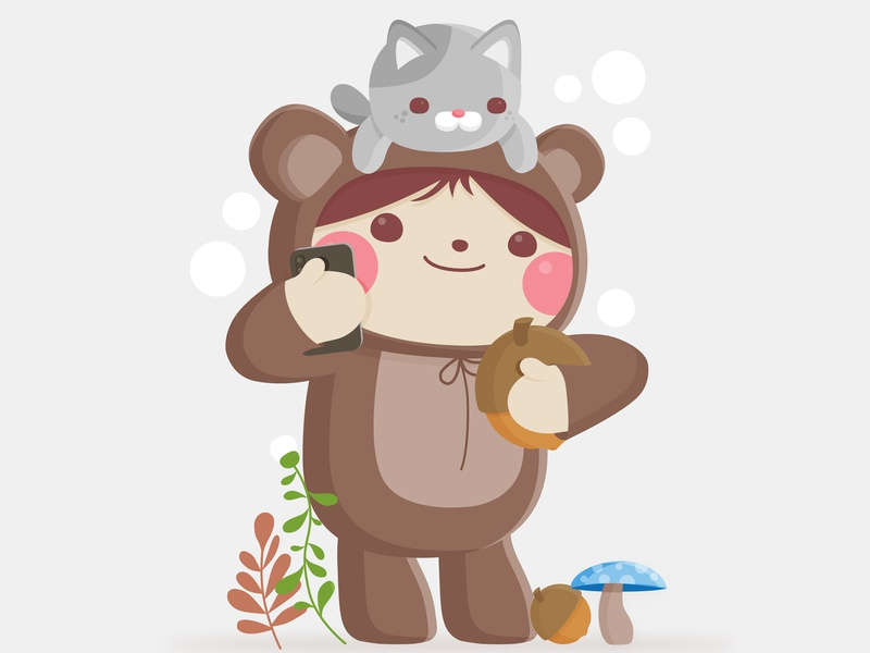Hello Friends the critters warehouse bear acorn adorable self portrait selfie kids character design vector illustration kawaii cute