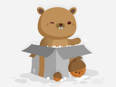 Boxy Beaver character design illustration vector box critters warehouse animal critter acorns beaver kawaii cute