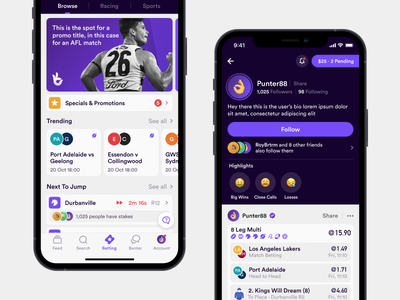 Social Punting sports betting social social media ios ui