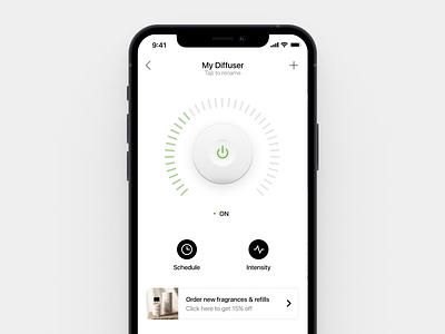 Smart Diffuser Controller clean white minimal iphone ios skeuomorphism skeuomorphic home automation iot