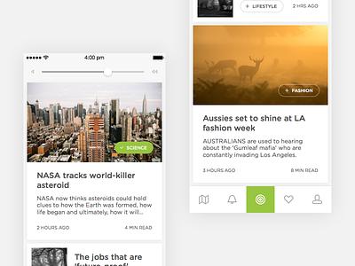 Embark News Feed icons tab bar tabs cards flat minimal clean white iphone ios list news