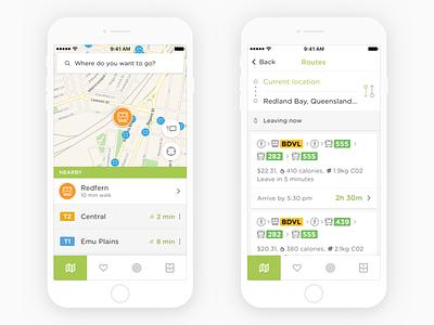 Embark Transit Updates travel map tab bar tabs white minimal iphone flat clean cards ios ui