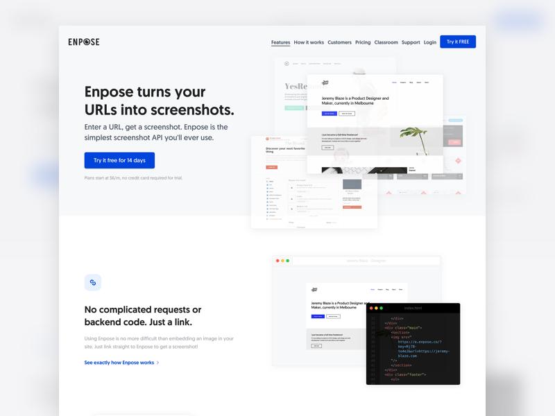 Enpose has launched! website web app minimal marketing web blue white flat api landing page code developer