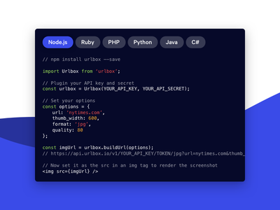 Code Preview api landing page code dark clean ui flat minimal website