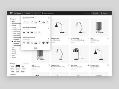 Marketplace filter store online store ecommerce shopify product grid minimal clean web apps web app flat helvetica saas project management kanban card web ui white platform