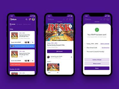 Tokyn UI ux uiux uidesign form builder social purple minimal iphone ios game fun form feed event consumer b2c