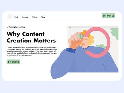 Landing page illustration - content creation drawing design editorial creative illustration